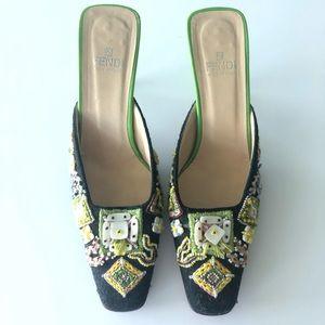 ⭐️Fendi vintage shoes hand beaded S-8 Stunning ⭐️